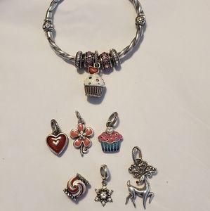 Brighton Shimmer Hinged Bangle Bracelet w/ Charms